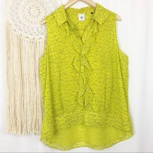 CABI Chartreuse Reign Ruffle Sleeveless Top 3071